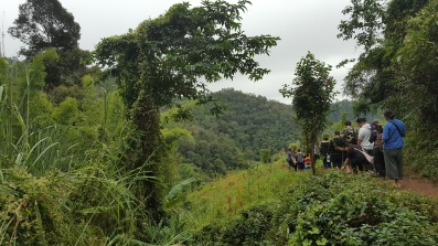 Workshop participants walking in the forest around Huay Hin Lad Nai, Thailand, 2017