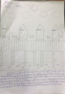Drawing of U Bein Bridge by a