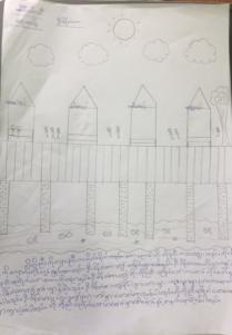 Drawing of U Bein Bridge by a