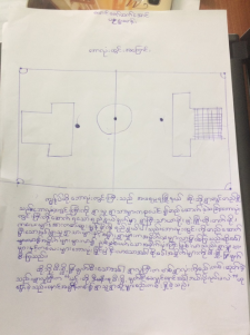 Drawing and writing about the football ground at the village by a child
